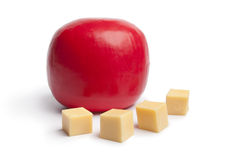 Dutch Edam cheese with cubes Stock Photos
