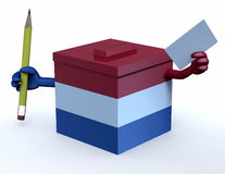 Dutch election ballot box whit arms. Paper and pencil on hand, 3d illustration Stock Image