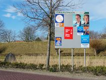 Dutch elections billboard, march 2019. Brielle, the Netherlands. February 2019. Billboard with candidates and political parties for the provincial council and royalty free stock photography