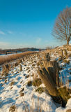 A Dutch embankment in winter Royalty Free Stock Image