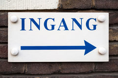Dutch Entrance Sign Ingang. On Wall Royalty Free Stock Photography