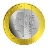 Dutch Euro Coin. 1 Dutch euro coin in isolated on white background vector illustration