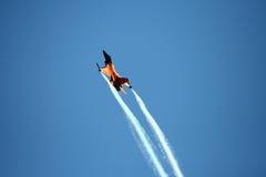 Dutch F16. An F16 of Dutch Air Force in the blu sky at the Roma International Air Show 2012 Stock Photos