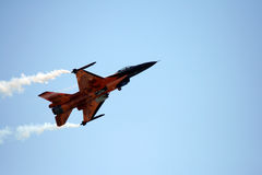 Dutch F16. An F16 of Dutch Air Force in the blu sky at the Roma International Air Show 2012 Stock Photography