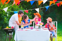 Dutch family having grill party Stock Photo