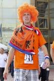 Dutch fan. KHARKIV, UKRAINE - JUNE 9, 2012: Unidentified Dutch fan near Kharkiv stadium Metalist before the match EURO 2012 Netherlands vs. Denmark. Dutch lost Stock Photography
