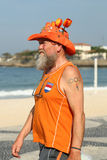 Dutch fan after Rio 2016 Olympic Cycling Road route competition of the Rio 2016 Olympic Games at Copacabana beach Royalty Free Stock Photos