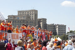 Dutch fans relaxing and rejoice royalty free stock images