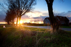 Dutch farm house at sunrise Stock Photos