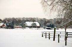 Dutch farm in the snow Stock Photo