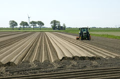Dutch farmer makes potato ridges in cropland Royalty Free Stock Photos