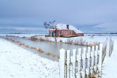 Dutch farmhouse in snow winter Royalty Free Stock Image