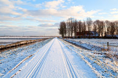 Dutch farmhouse in snowy winter Stock Image
