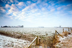 Dutch farmland in winter Stock Photos