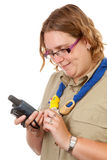 Dutch female scout with gps navigation Stock Photo