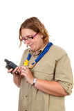 Dutch female scout with gps navigation Stock Image