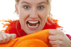 Dutch female soccer fan is angry Stock Image