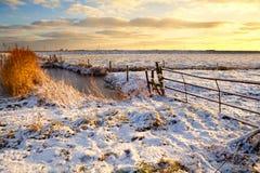 Dutch fields in snow Stock Photos