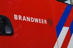 Dutch fire brigade logo. Pijnacker, the Netherlands. May 2018. Dutch fire brigade name and logo Dutch: brandweer royalty free stock photos