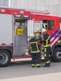 Dutch firefighters in action Royalty Free Stock Photography
