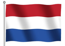 Dutch Flag. Waving isolated over white background Stock Images