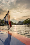 Dutch Flag with Amsterdam in Background Royalty Free Stock Photography