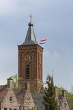 Dutch flag on a church tower Royalty Free Stock Images