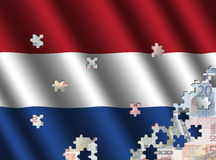 Dutch flag jigsaw over euros Stock Photos