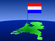 Dutch flag on map Royalty Free Stock Photography