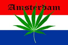 Dutch flag with marijuana leaf Royalty Free Stock Photography