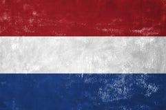 Dutch Flag. Netherlands - Dutch Flag on Old Grunge Texture Background royalty free stock photo