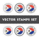 Dutch flag rubber stamps set. National flags grunge stamps. Country round badges collection Stock Photos