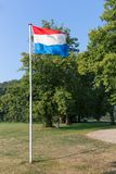 Dutch flag in rural landscape Royalty Free Stock Photography