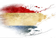 Dutch flag. With some grunge effects and lines vector illustration