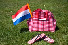 The Dutch Flag in a travelbag Royalty Free Stock Photos