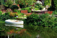Dutch flower garden with boat Royalty Free Stock Image