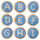 Dutch food: 'beschuit met muisjes' alphabet, A-I Stock Photo