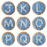 Dutch food: 'beschuit met muisjes' alphabet, J-R Stock Image