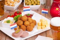 Dutch food: 'bitterballen', deep fried snacks Royalty Free Stock Images