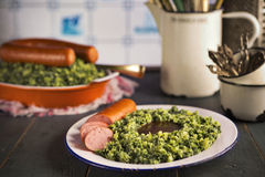 Dutch food: kale with smoked sausage or 'Boerenkool met worst' Stock Photo