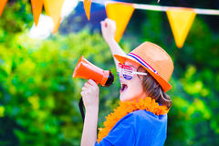 Dutch football fan, little boy cheering Stock Image