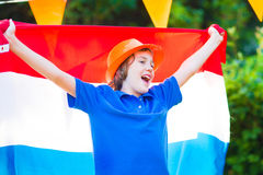 Dutch football fan, little teenager boy cheering Royalty Free Stock Images