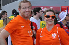 Dutch football fans at World Cup 2014 Stock Images