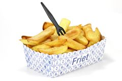 Dutch fries. In cardboard container  on white background Stock Photo