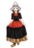 Dutch Girl. In traditional costume royalty free illustration