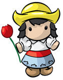 Dutch girl and tulip. Illustrated cartoon Dutch girl wearing wood shoes and holding a red tulip isolated against a white background stock illustration