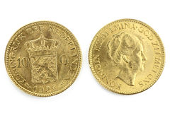 Dutch gold coins Royalty Free Stock Image