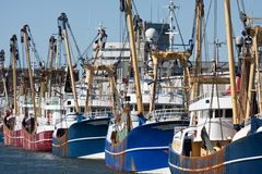 Dutch harbor with modern fishing cutters Stock Photography