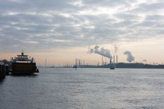 Dutch harbor of Rotterdam in early morning Stock Photo