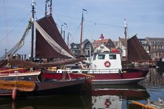 Dutch harbor of Urk with traditional ships Royalty Free Stock Photo